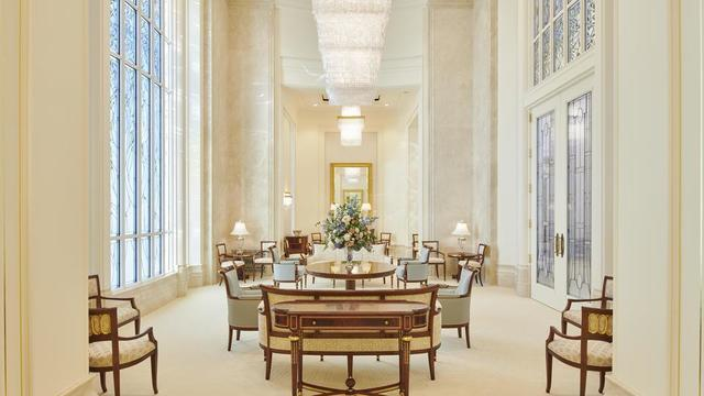 This is another view of the celestial room in the Rome Italy Temple. Latter-day Saints go to the temple and feel it is heaven on earth.