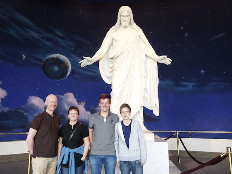 Martin with his family on their first trip to Temple Square where Martin met the missionaries.