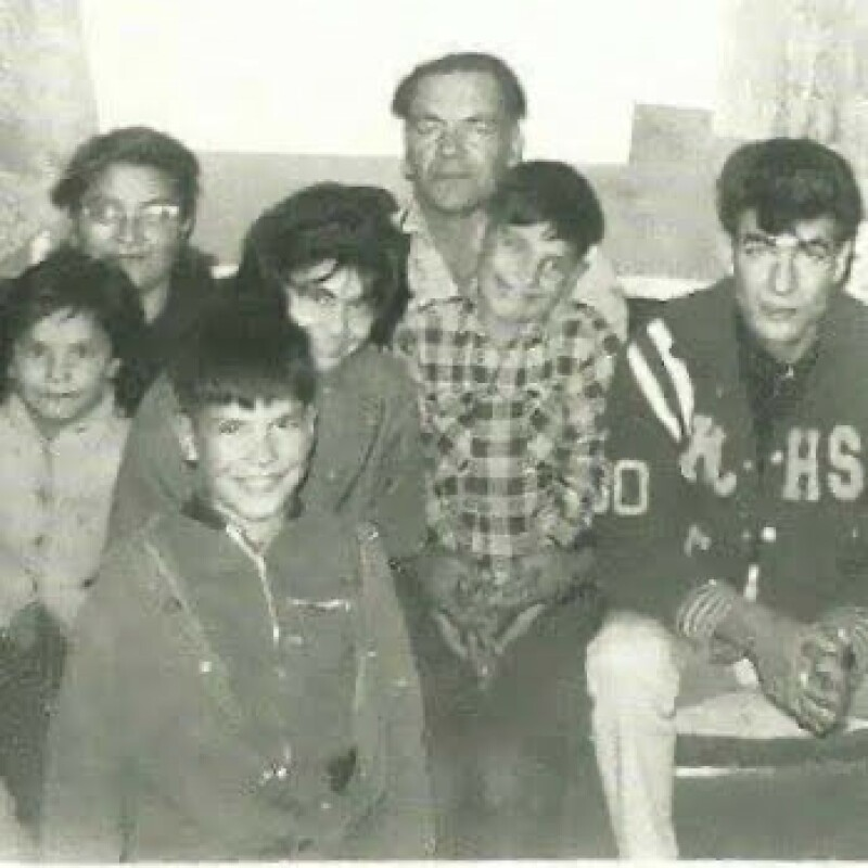 Jalynne's kôhkum and môshum (grandmother and grandfather) with other family members.