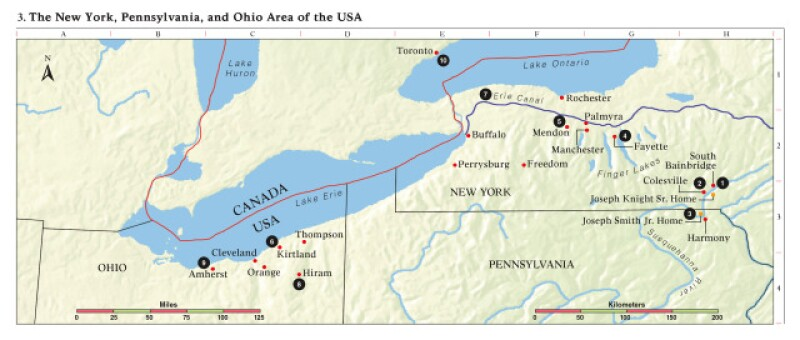 Map 3: the New York, Pennsylvania,and Ohio Area of the USA