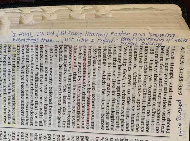 Photo of Tammy's scriptures with quote from Laurel's Father: