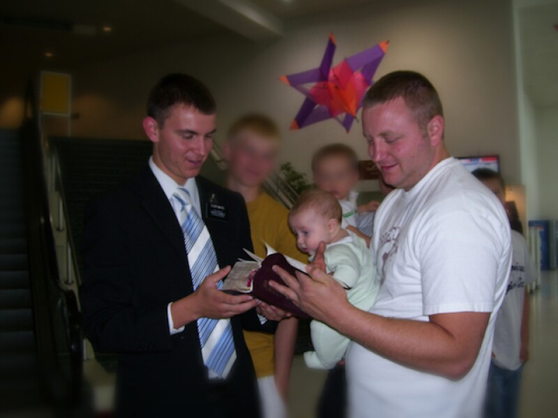 While on his mission, Mark (right) lost his scriptures that were carefully marked for missionary discussions. Five years later, Mark's brother Seth (left) found the scriptures while serving in the same mission.