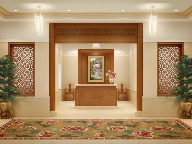 Rendering of the entry of the Hong Kong China Temple.