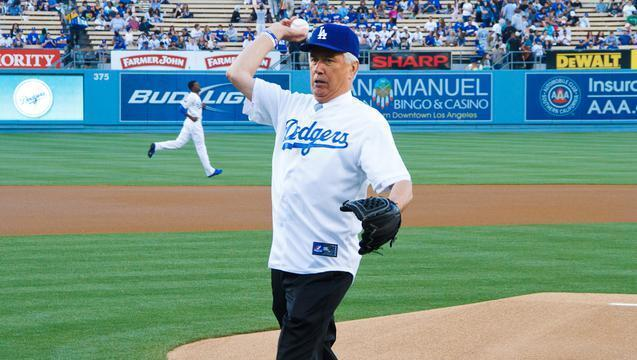 President Dieter F. Uchtdorf, second counselor in the First Presidency of The Church of Jesus Christ of Latter-day Saints (Mormons), threw out the first pitch at a recent Los Angeles Dodgers baseball game.