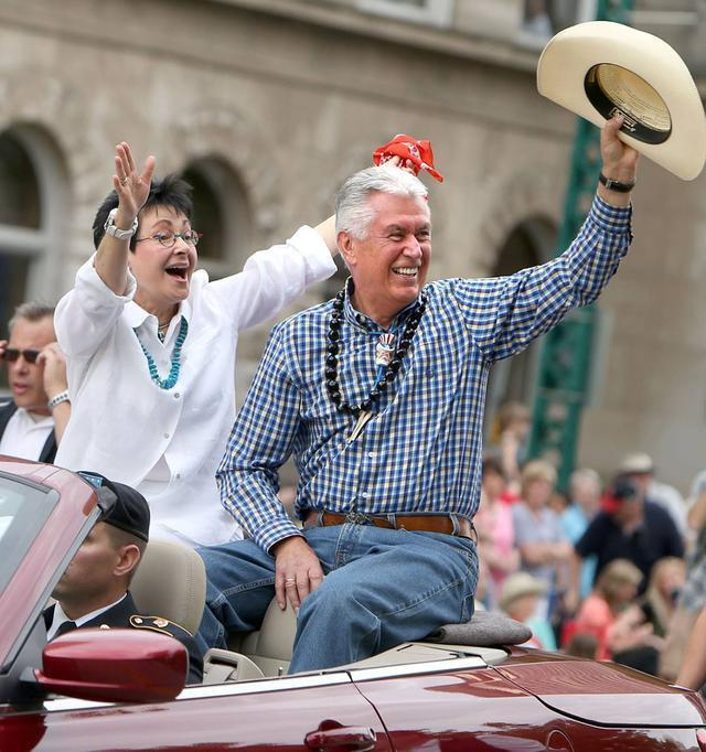 Dieter F. Uchtdorf, Second Counselor in the First Presidency, and his wife Harriet ride in the Days of 47 KSL 5 Parade in Salt Lake City