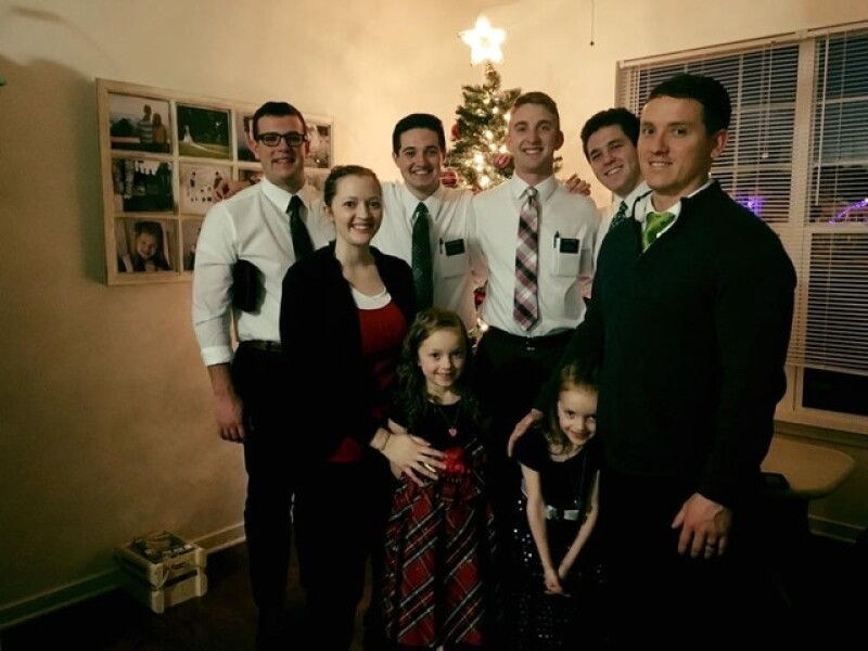 Carissa and her family with the missionaries at Christmas. While her son was in the NICU, Carissa felt prompted to help these missionaries connect with their families on Christmas Day.