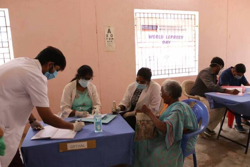 A medical camp that Rising Star Outreach's clinic did on January 30th, which is World Leprosy Day. Patients now pay 2 rupees to see the doctor: