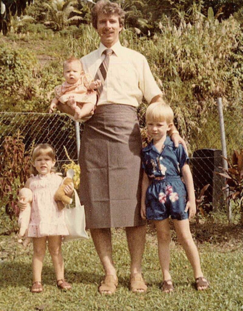 Craig with his three small children in Fiji. Craig and his family moved to Fiji after Craig was offered a job teaching English.