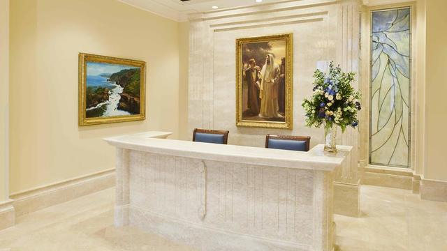 The recommend desk in the Rome Italy Temple.