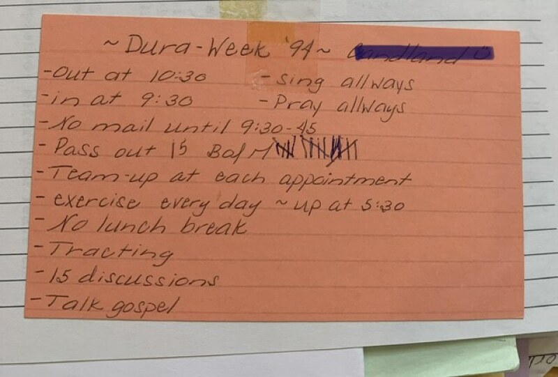 Tammy's Dura Day card that she used a missionary in Fresno, California.