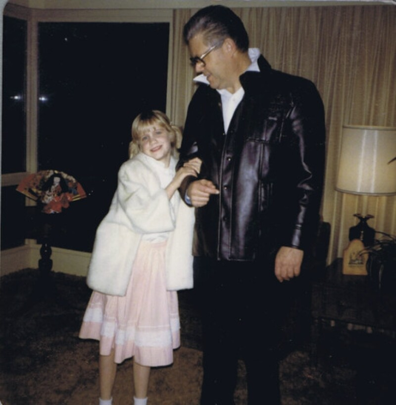 Julie with her father before a daddy-daughter dance. In a dream, Julie's father helped her to realize her true potential for family history work.