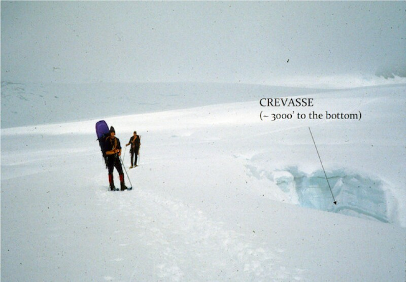 Hidden under snow, crevasses or cracks in glaciers can be difficult to spot. The one on the right in the picture above is about 3,000 feet deep.