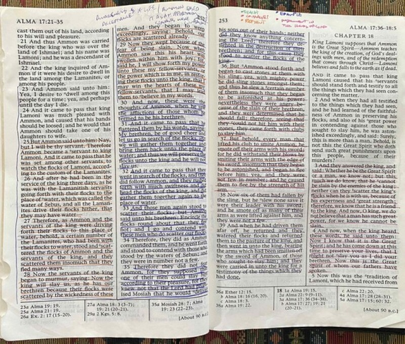 Becky's highlighted scriptures.
