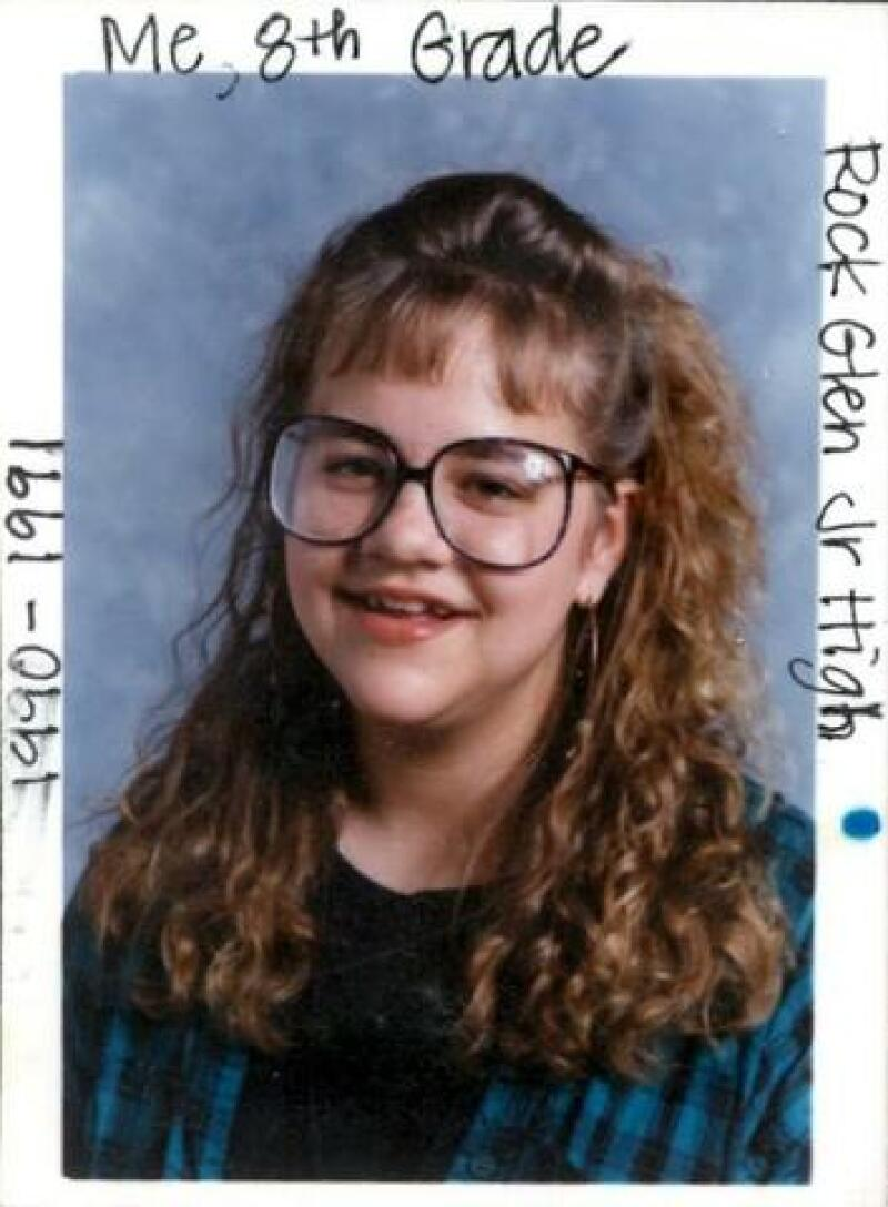 KaRyn's 8th-grade picture, bangs and all, taken at around the time she received her heart necklace.
