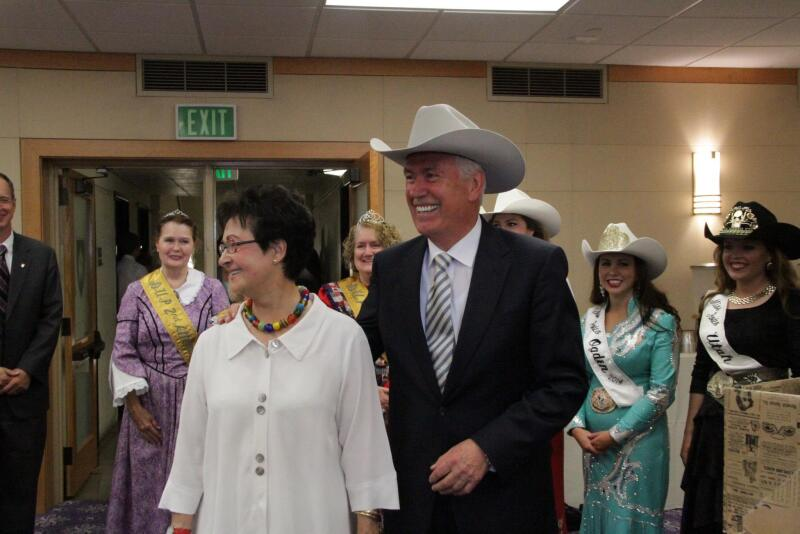 President Uchtdorf and wife Harriet at Pioneer days in Ogden, Utah.