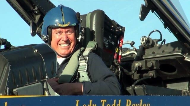 President Dieter F. Uchtdorf prepares for a flight with the Navy Blue Angels.
