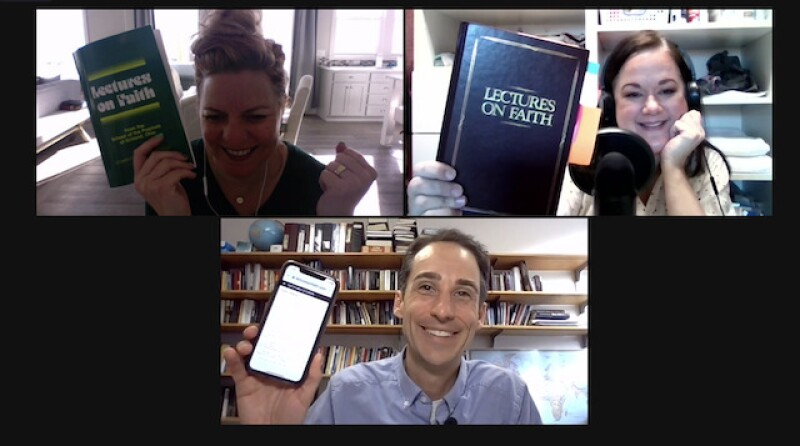 John, Mandy, and Tammy with their Lectures on Faith (books and online).