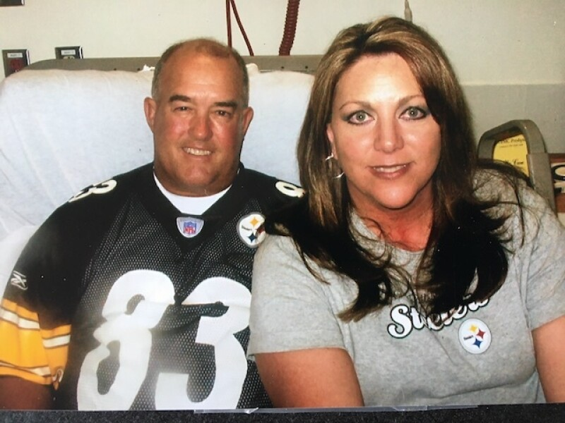 Both Jim and sister are avid Stealers fans and Jim's sister was able to attend a game before the surgery.