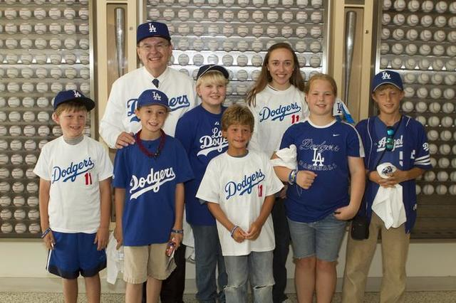 Image titleElder Cook at the Dodgers game. Image from Deseret News.