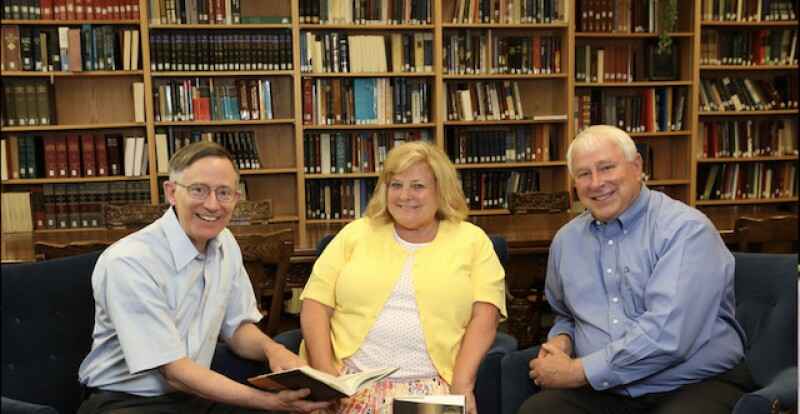 Ken (left) Mary Jane Woodger (middle) and Craig K. Manscill (right) at BYU. All three are authors of the book Dreams As Revelation.