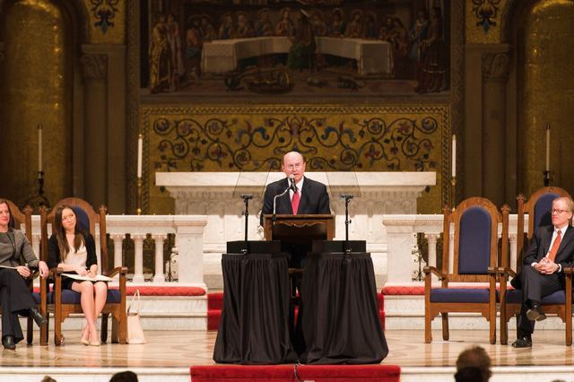 Image titleElder Cook speaking at the Standford University Convocation at Memorial Church. Image from Facebook.