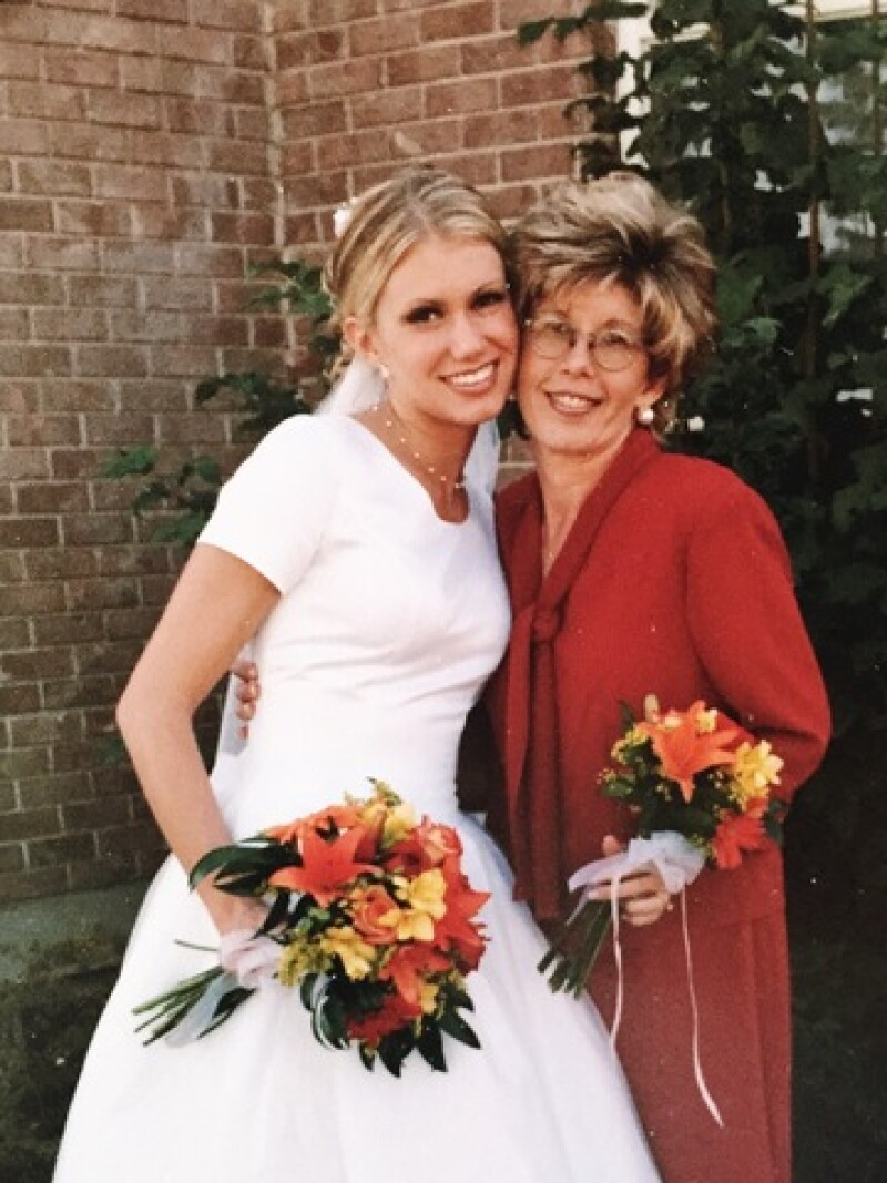 Brooke with her mom on Brooke's wedding day