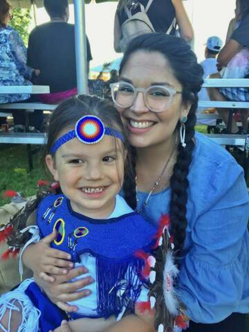 Jalynne's son in regalia for his first dancing powwow.