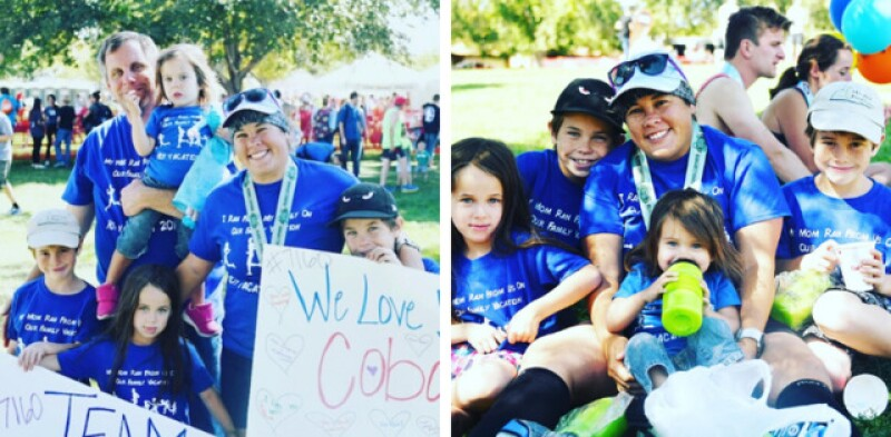 Melissa with her family after finishing her marathon