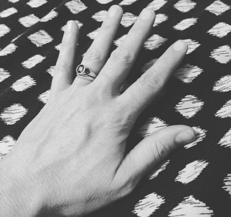 Her mom's ring that she inherited: