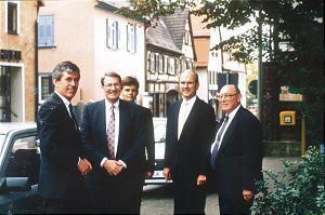 Elder Joseph B. Wirthlin (right) joins Elder Russell M. Nelson, Elder Neal A. Maxwell and President Dieter F. Uchtdorf of the Frankfurt Germany Stake in 1987 for dedication of the Frankfurt Germany Temple.